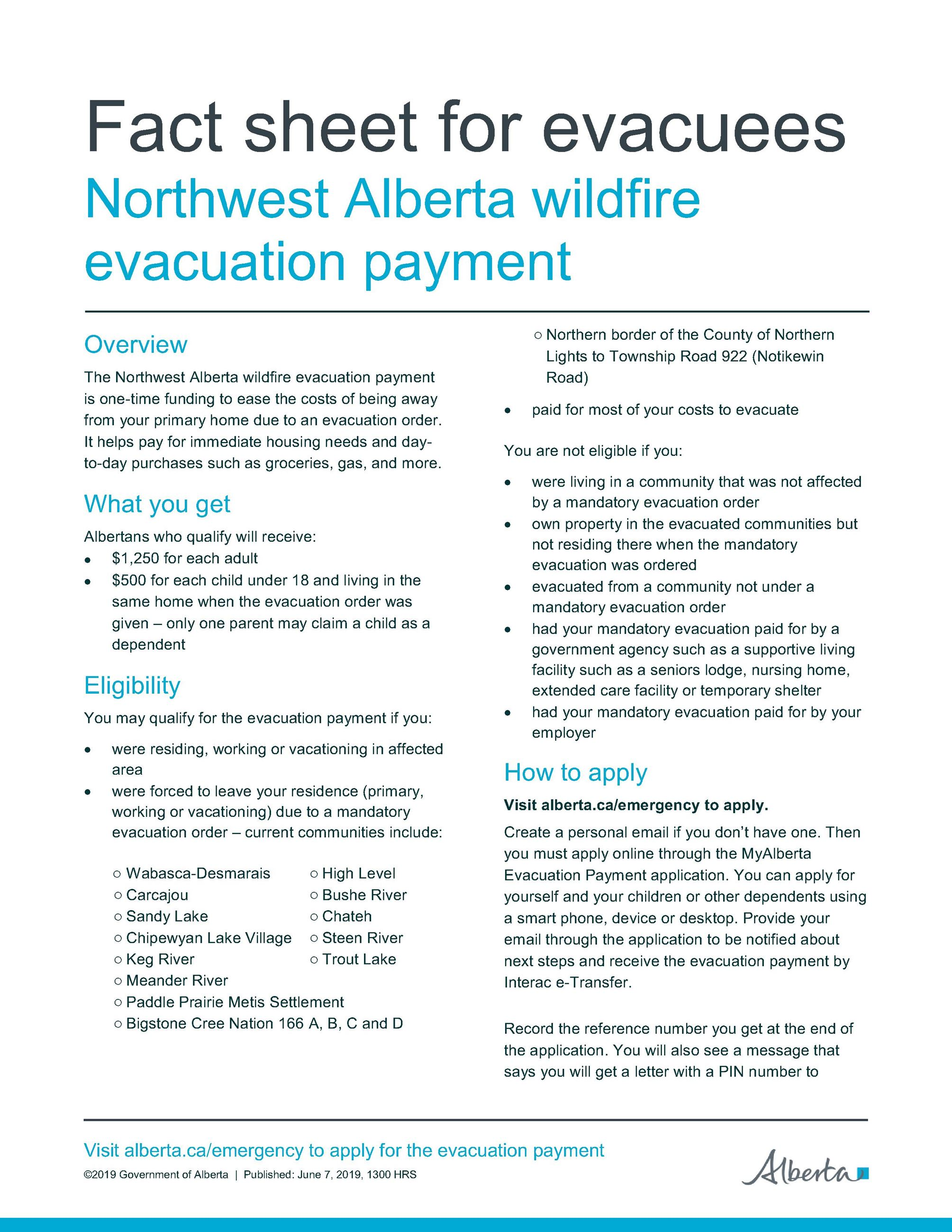 FACT SHEET - Evacuation Payment June 7 1300_1